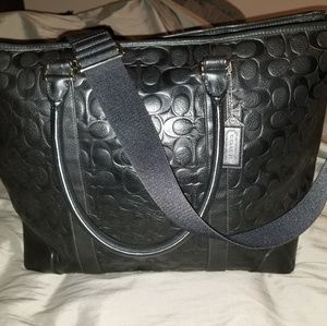 Leather Coach Signature Weekend Tote